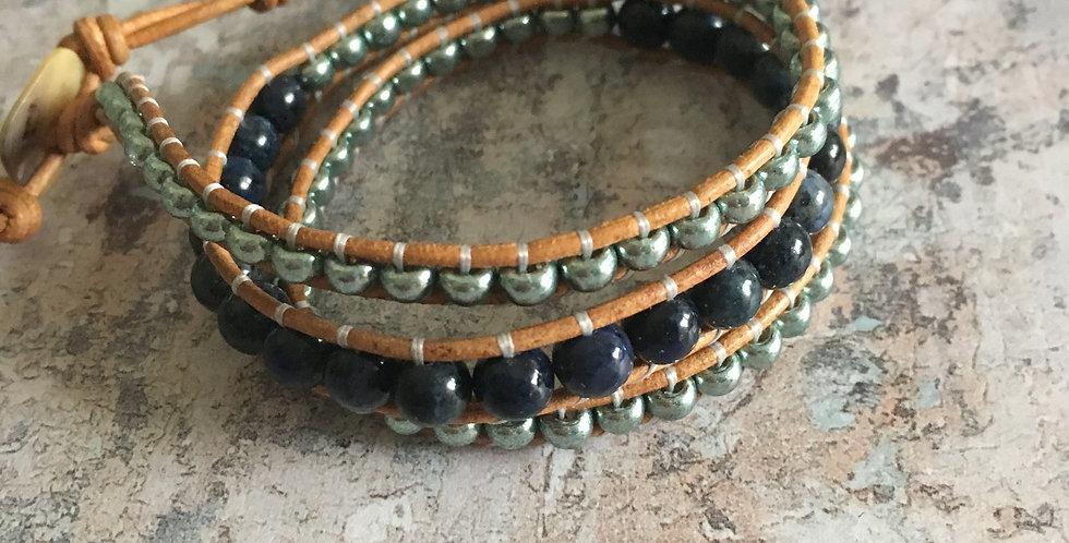 Dumortierite & Sea-blue Japanese Glass wrap