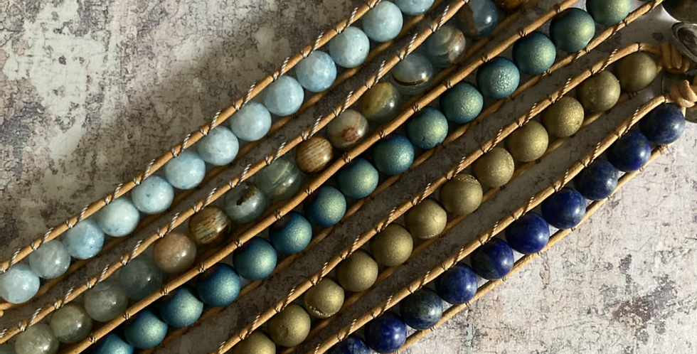 Single Wrap bracelets in shades of Blue & Gold