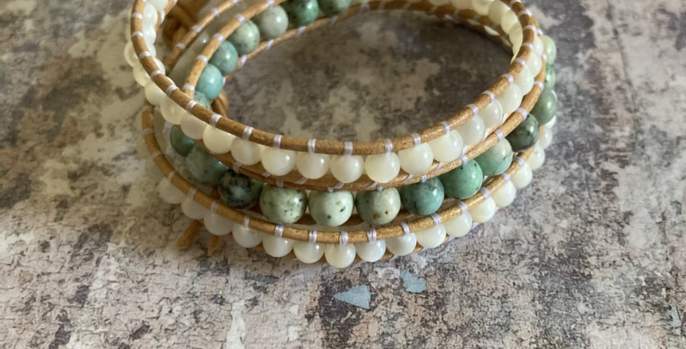 Natural Turquoise & Mother of Pearl wrap