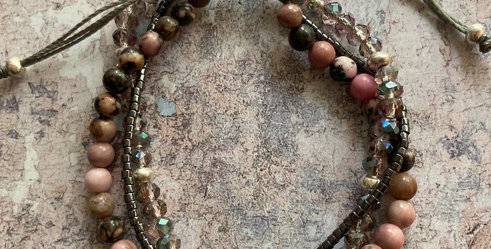 Rhodonite Triple-Twist tie bracelet