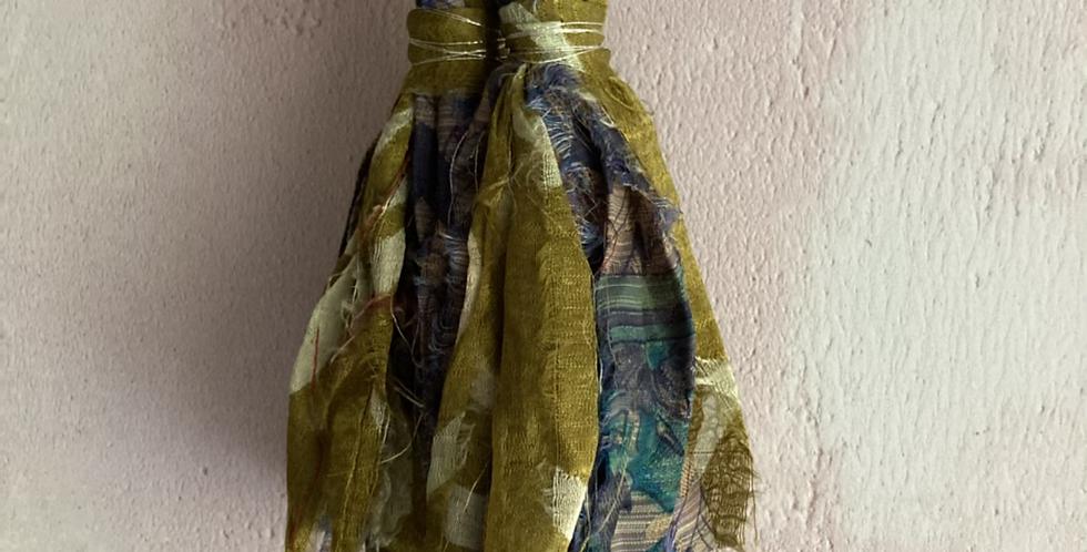 Old gold & blue patterned vintage sari-silk earrings