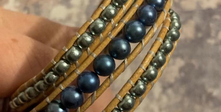 Deep-blue Freshwater Pearl & Japanese glass wrap bracelet