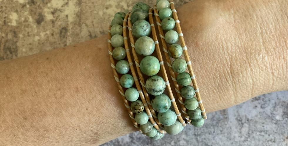 Natural Turquoise triple wrap bracelet
