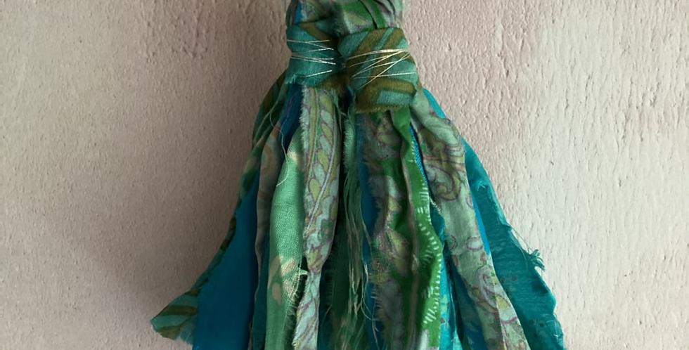Sea-Green patterned vintage sari-silk earrings