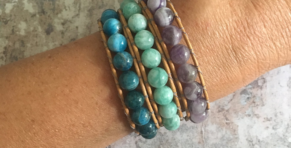 Semi-precious 'Polished' single wrap bracelets