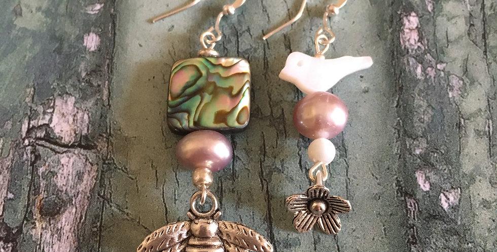 Bee & Flower - Mismatched Earrings