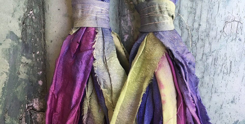 Lilac/green Rainbow Sari-silk earrings