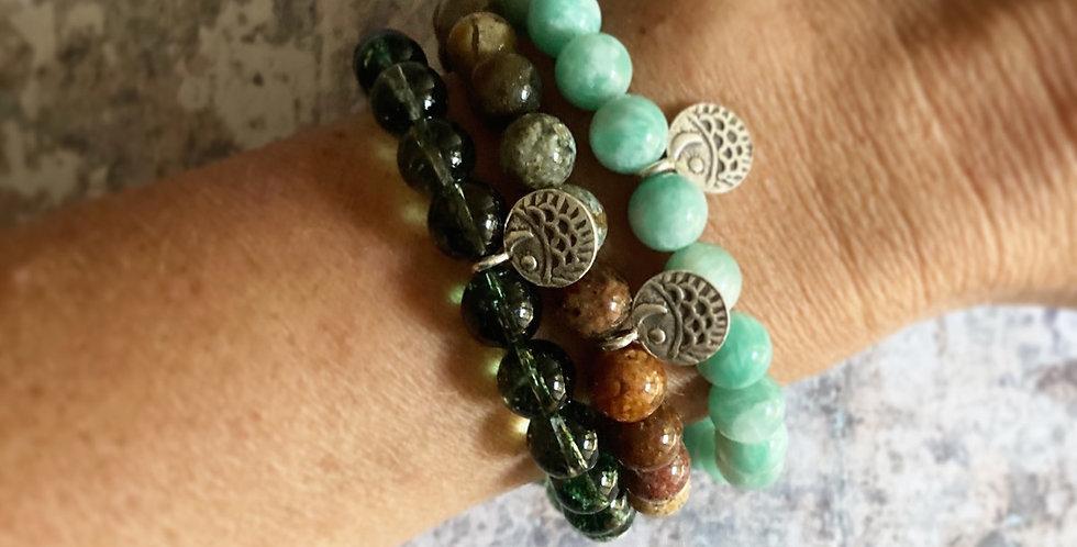 Natural stone & Silver bracelets (coastal)
