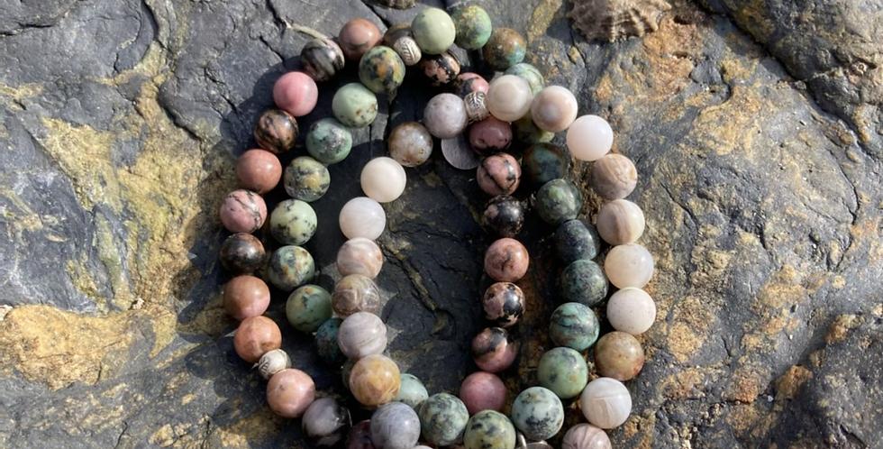 Natural Stone & Oxidised Silver bracelets (unisex coastal)