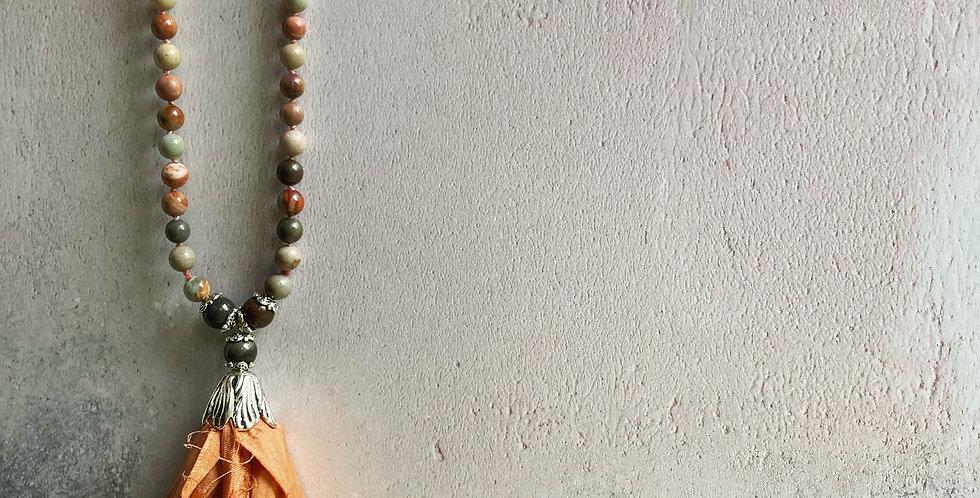 Picture Jasper & orange Sari-silk necklace