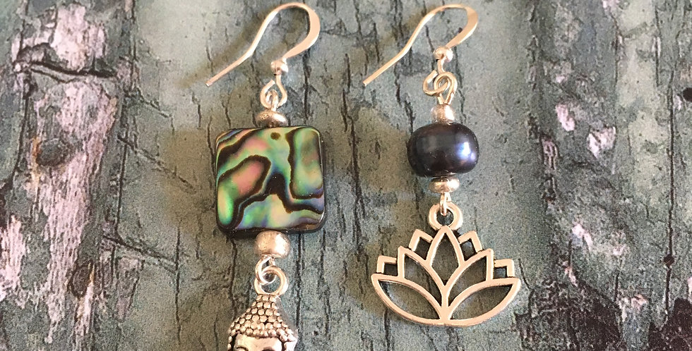 Mismatched Abalone Lotus Flower & Buddha Earrings