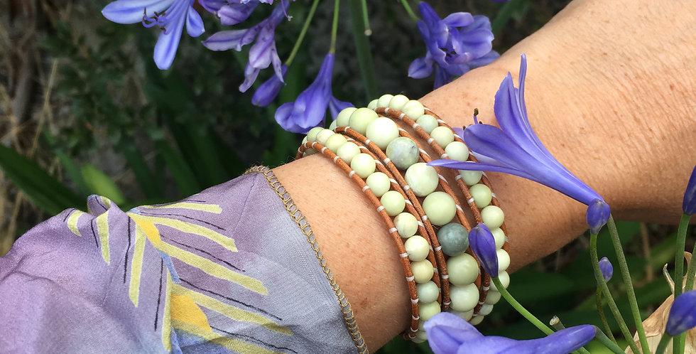 Butterstone Jade Leather Wrap Bracelet