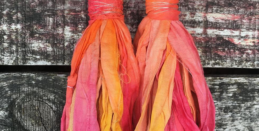 'Tropical' recycled Sari-Silk earrings