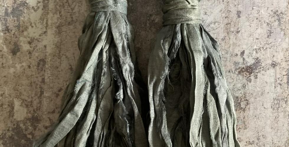 Pewter grey Sari-silk earrings