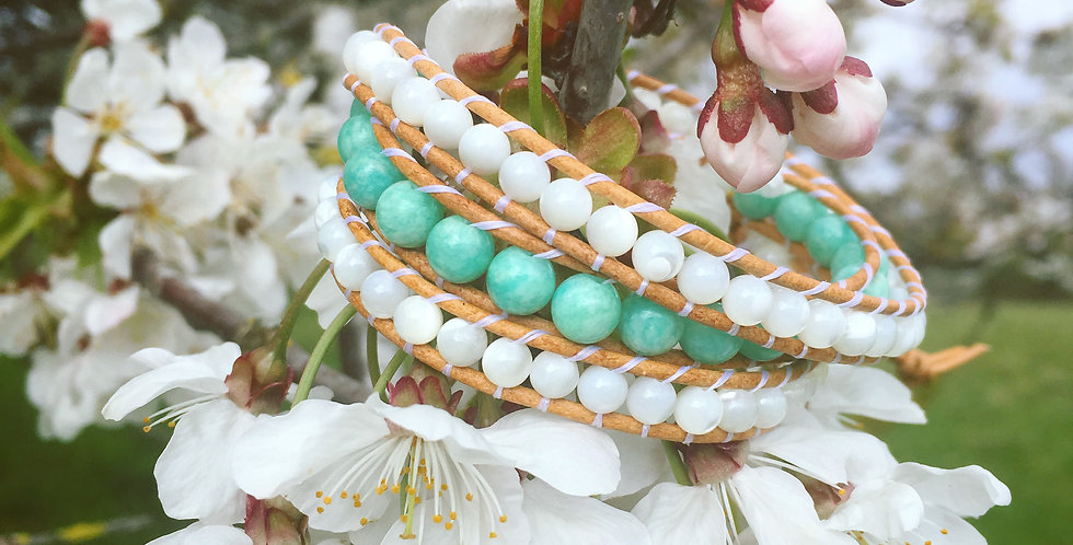 Peruvian Amazonite & Mother of Pearl wrap bracelet