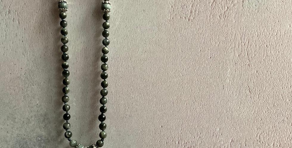 Apatite & 'Eagle Eye' Sari-silk necklace