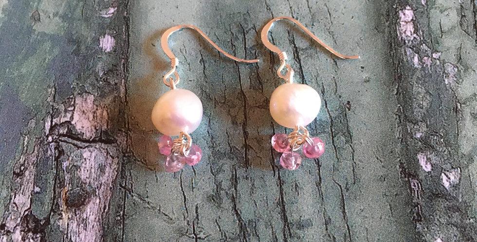 Artisan Pearl & Pink Topaz drops
