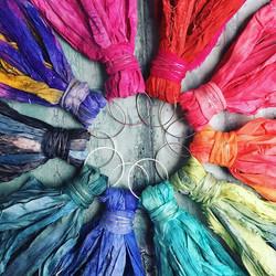 🌈A rainbow wheel of Sari-Silk earrings.