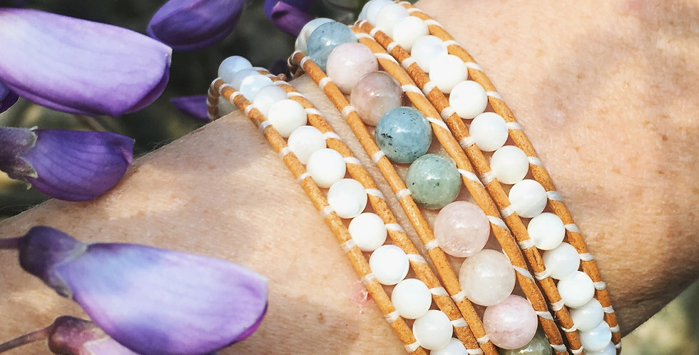 Beryl Morganite Leather Wrap Bracelet