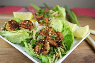 Red Chili Sesame-Ginger Shrimp Lettuce Wraps with an Asian Peanut Slaw