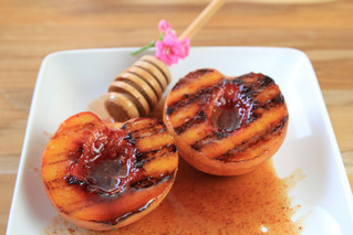 Grilled Peaches with Ancho-Cinnamon Honey