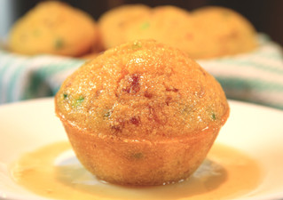 Jalapeño-Bacon Cornbread Muffins topped with a Honey Butter Glaze