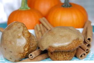 Pumpkin Pecan Muffins with Maple-Cinnamon Glaze