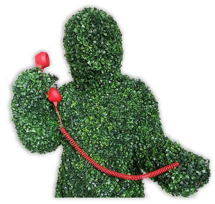 Human Hedge Making A Phone Call for Event Entertaiment