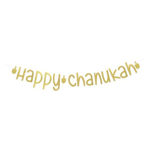Happy Chanukah Bunting Gold