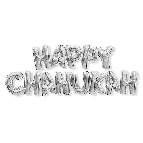 Happy Chanukah Foil Balloons Silver