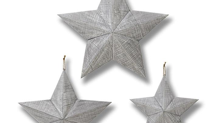 Set of 3 wooden hanging stars