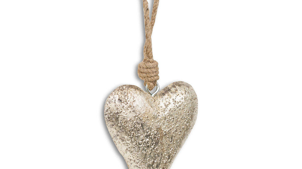 mottled silver heart with rope hanging loop
