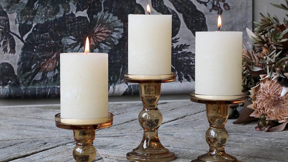 Medium caramel glass candlestick