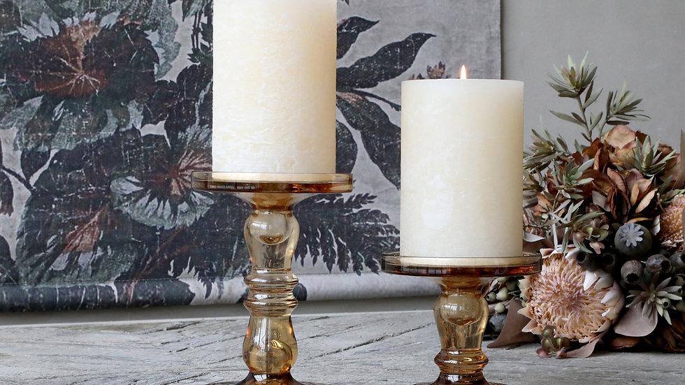 Large caramel glass candlestick