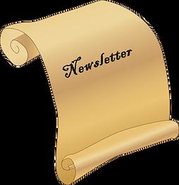 Schriftrolle mit Wortlaut: Newsletter