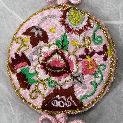 Embroidered Round Light Pink Silk Tassel