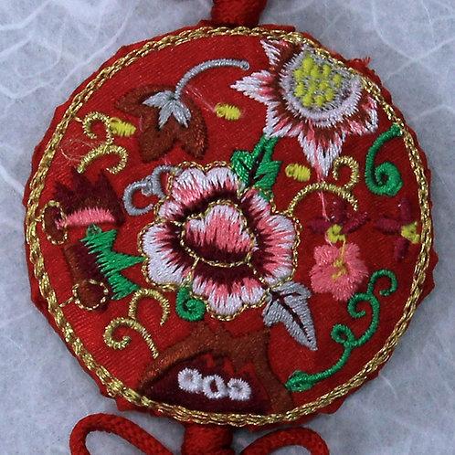 Embroidered Round Red Silk Tassel