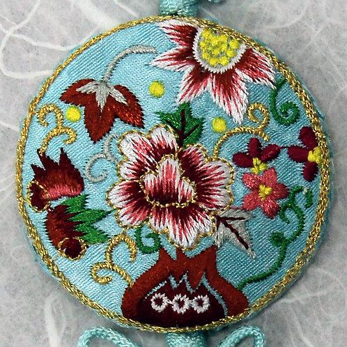 Embroidered Round Light Blue Silk Tassel