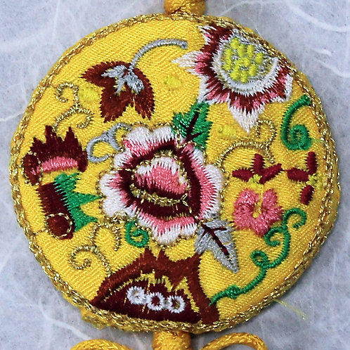 Embroidered Round Yellow Silk Tassel
