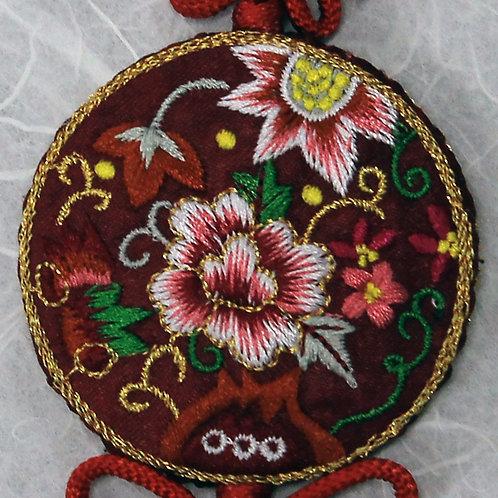 Embroidered Round Dark Red Silk Tassel