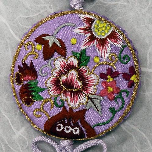 Embroidered Round Lavender Silk Tassel