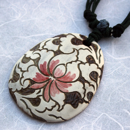 Buncheong Pendant with White Lotus with Pink Center