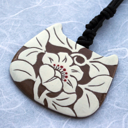 Buncheong Pendant with Flower Design