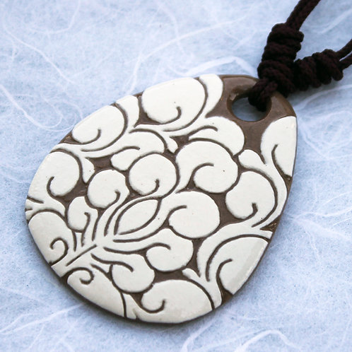 Buncheong Pendant with White Lotus