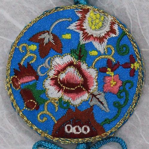 Embroidered Round Blue Silk Tassel