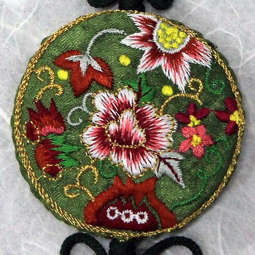 Embroidered Round Olive Green Silk Tassel