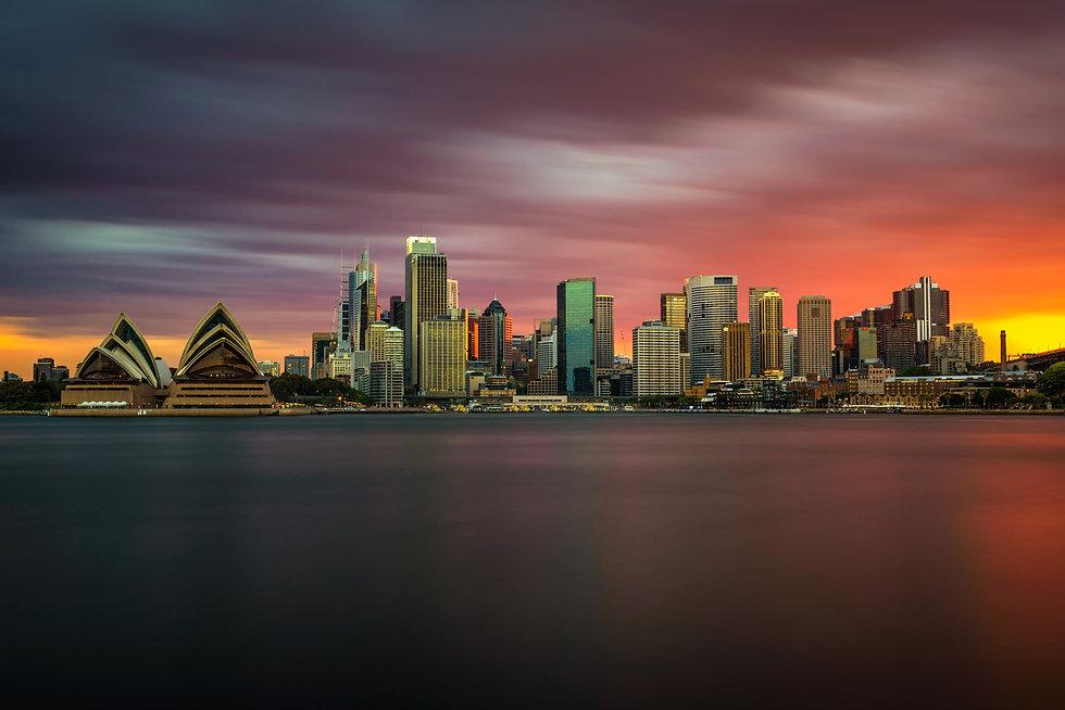 Sunset skyline of Sydney downtown  with Opera House, NSW, Australia.jpg Long exposure.jpg