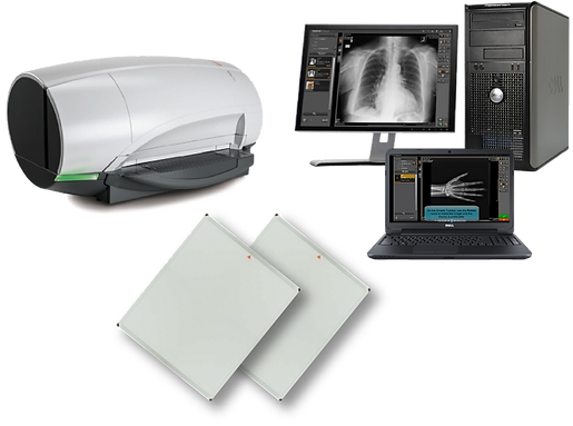 Computed Radiography machine with cassettes and Image Suite software