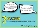 3 Reasons to Purchase or Finance by the End of the Year... Equipment & RIS Software Still Available!