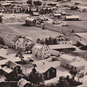Flygbild över Hede centrum